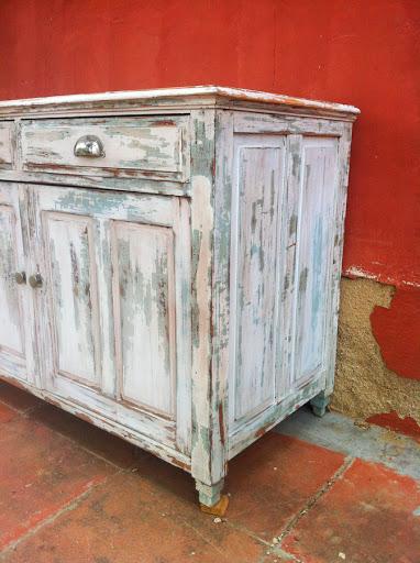Antiguo aparador bufet blanco muebles vintage industrial - Mueble aparador antiguo ...