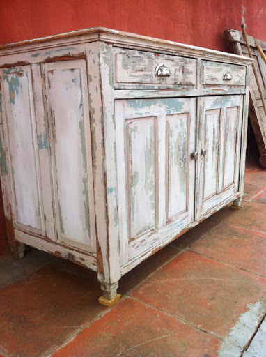 Antiguo aparador bufet blanco muebles vintage industrial vintage home decor reus tarragona - Mueble aparador antiguo ...