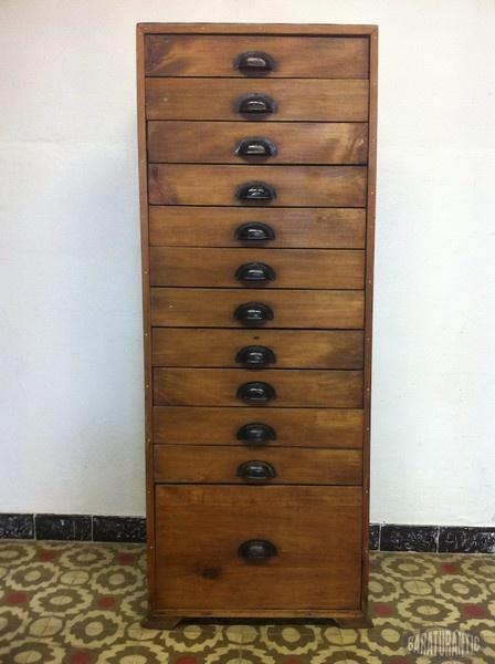Archivador cajonera industrial de madera muebles vintage - Cajonera para oficina ...