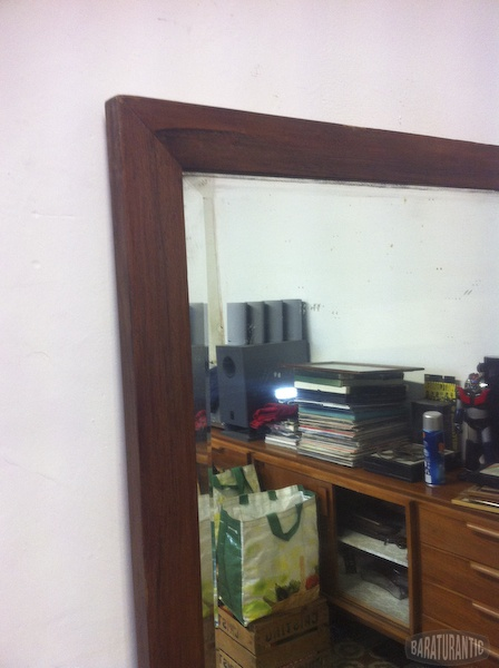 Antiguo gran espejo biselado muebles vintage industrial for Espejo horizontal salon