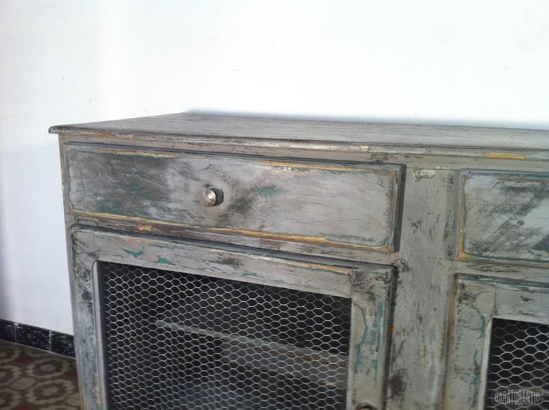 Mueble fresquera gris verdoso muebles vintage industrial for Mueble vintage industrial
