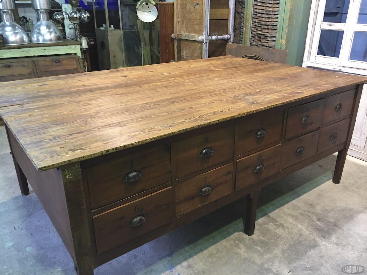 Antigua Gran Mesa de Costura de Oficios - Muebles Vintage Industrial ...
