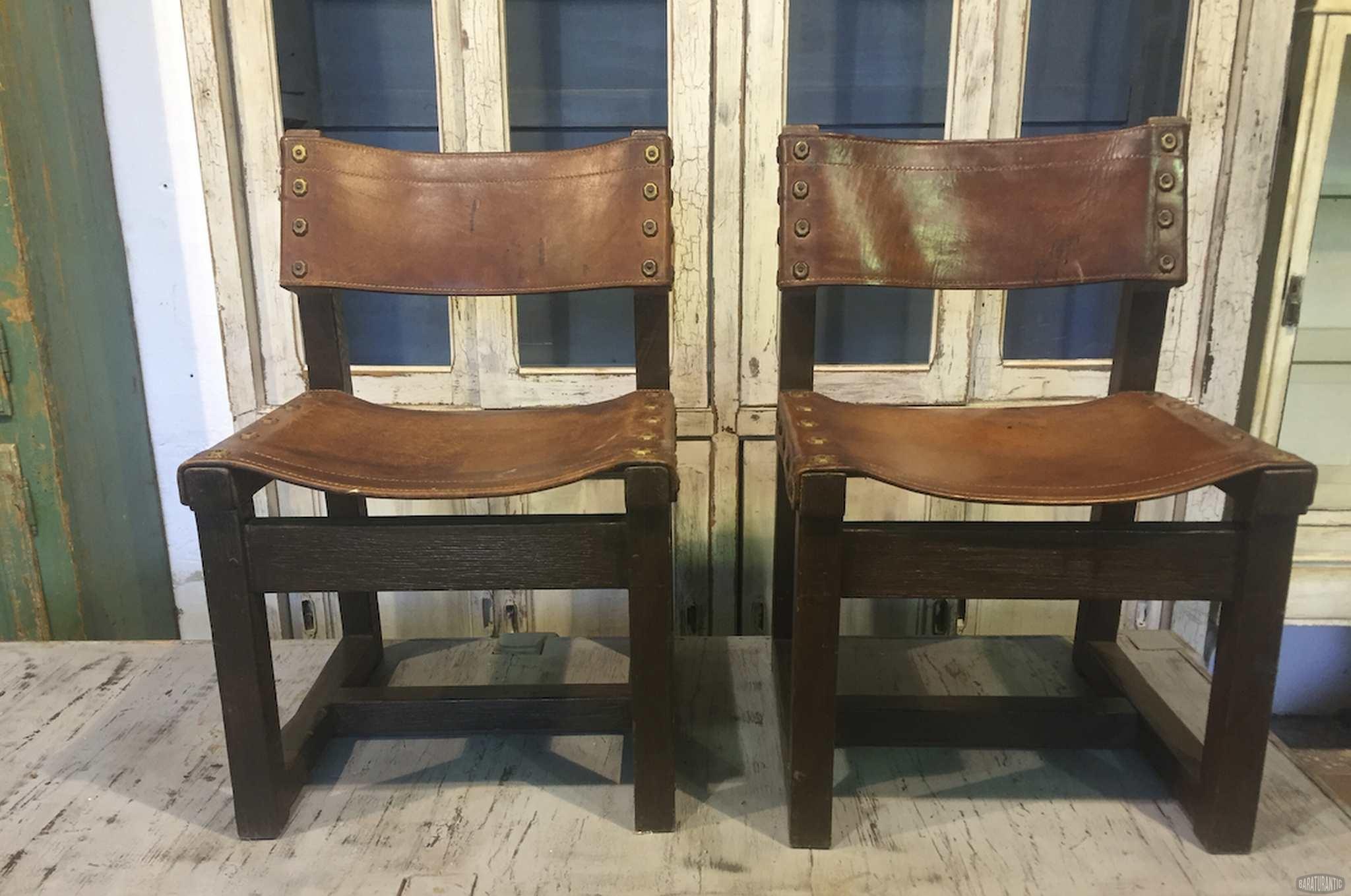 Sillas r sticas n rdicas de cuero retro vintage muebles vintage industrial vintage home decor - Sillas rusticas ...
