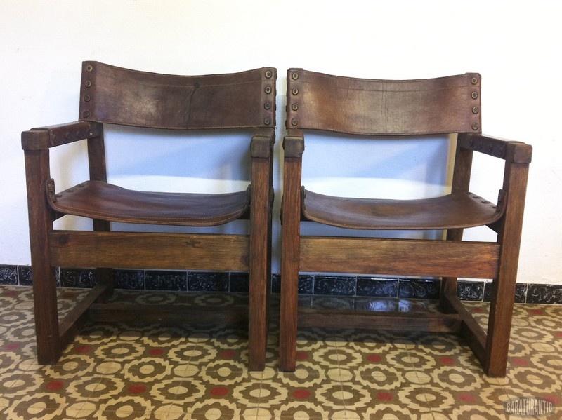 Sillones r sticos n rdicos de madera y cuero muebles for Sillones rusticos de madera