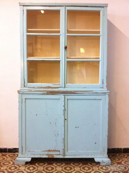 Antigua vitrina alacena verde coral muebles vintage for Alacenas de cocina vintage
